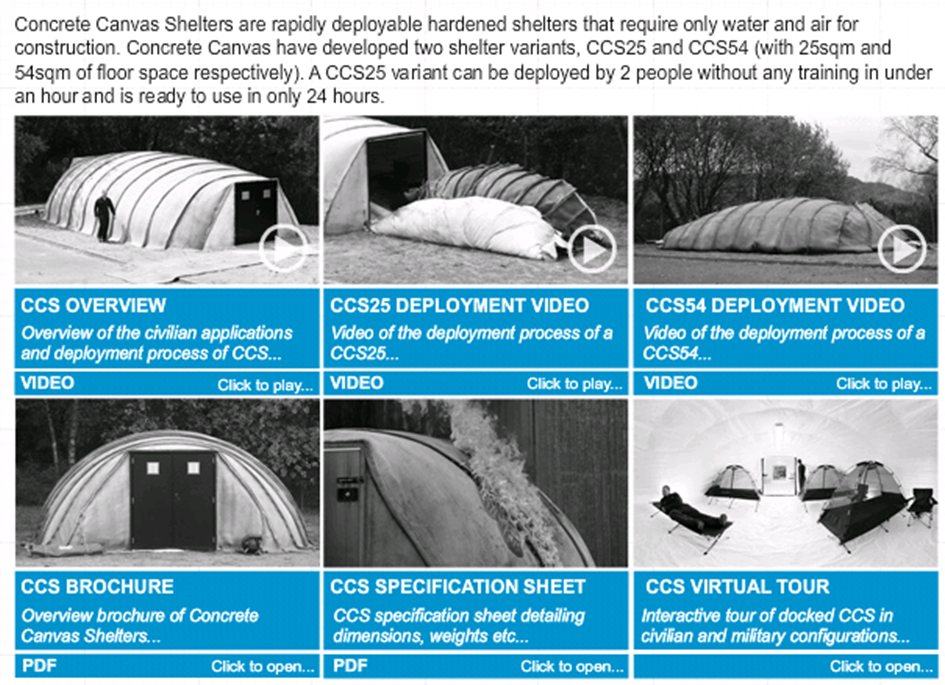 Concrete Cloth was originally developed for the award winning Concrete Canvas Shelters a building in a bag that requires only water and air for ... & CBRNE-Terrorism Newsletter